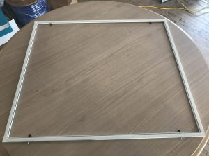The assembled frame of a screen